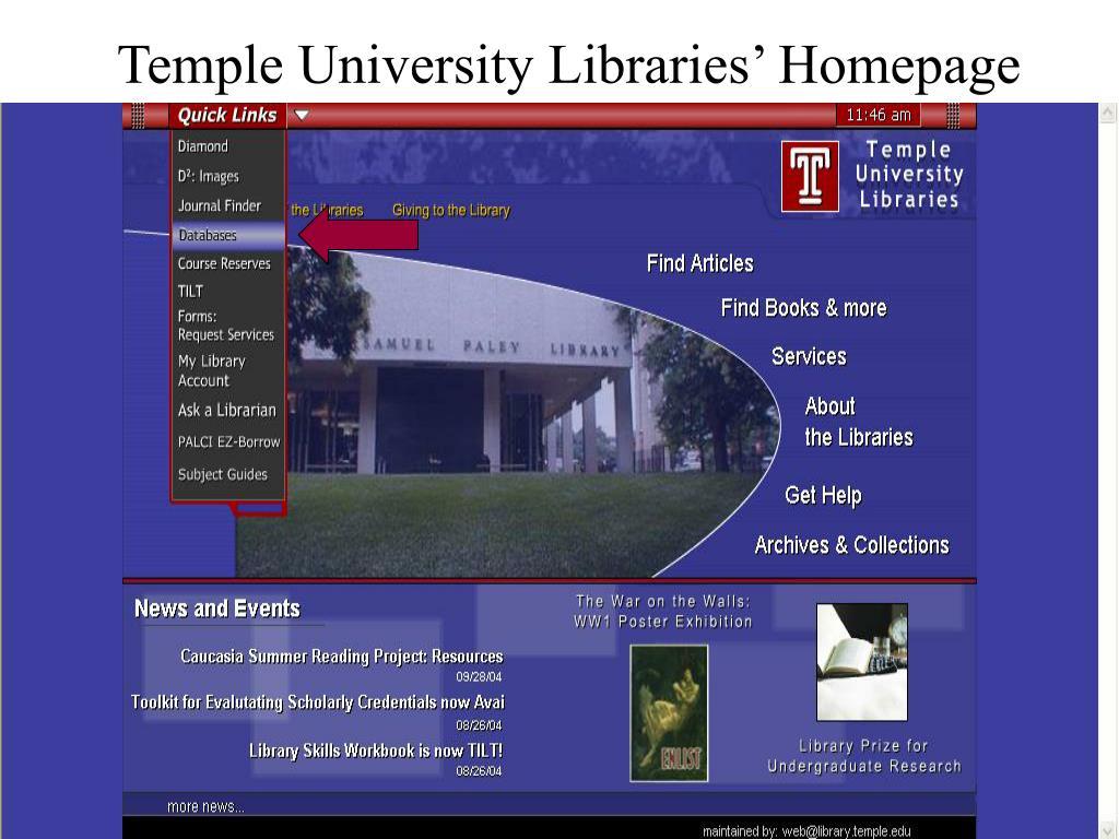 Temple University Libraries' Homepage