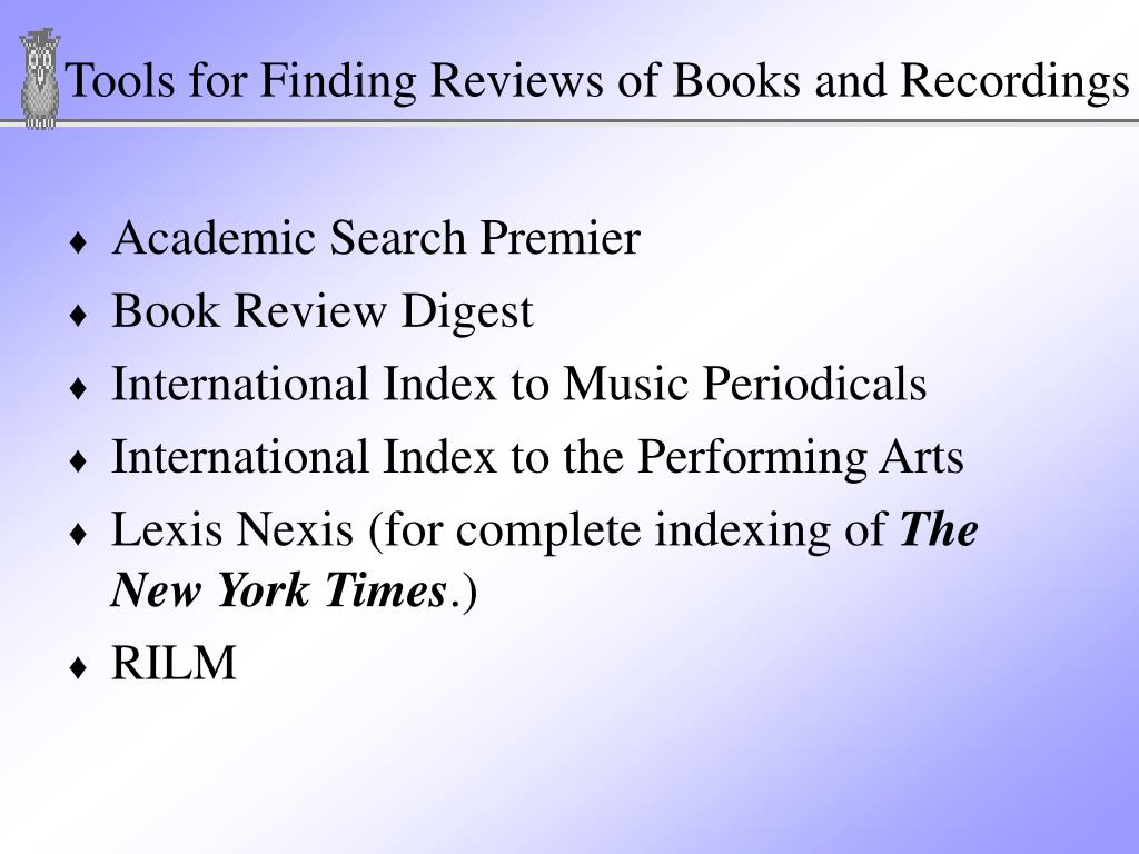 Tools for Finding Reviews of Books and Recordings
