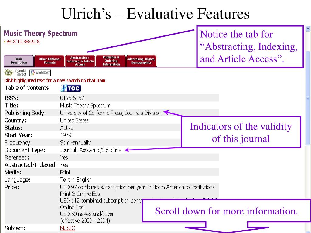 Ulrich's – Evaluative Features