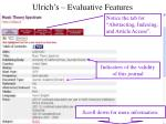 ulrich s evaluative features