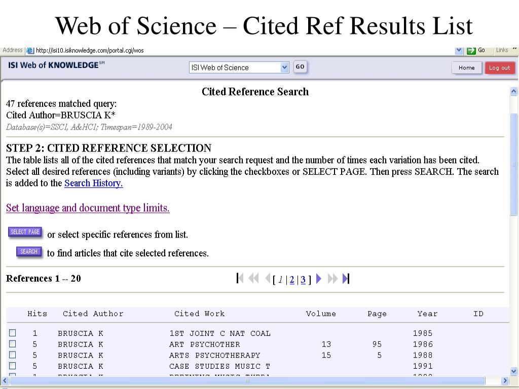 Web of Science – Cited Ref Results List