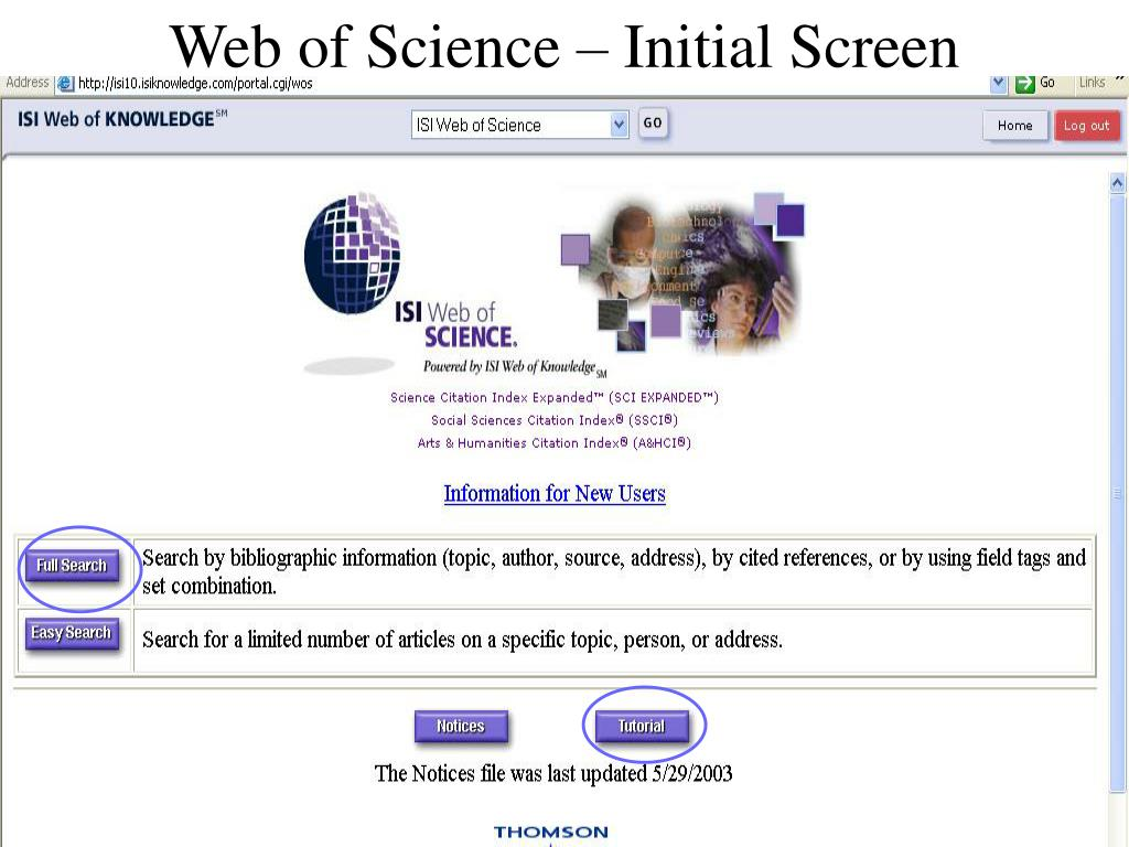 Web of Science – Initial Screen