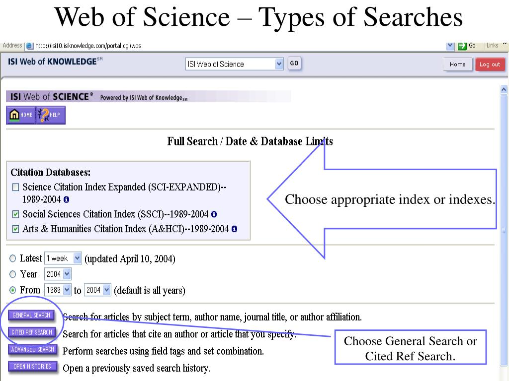 Web of Science – Types of Searches