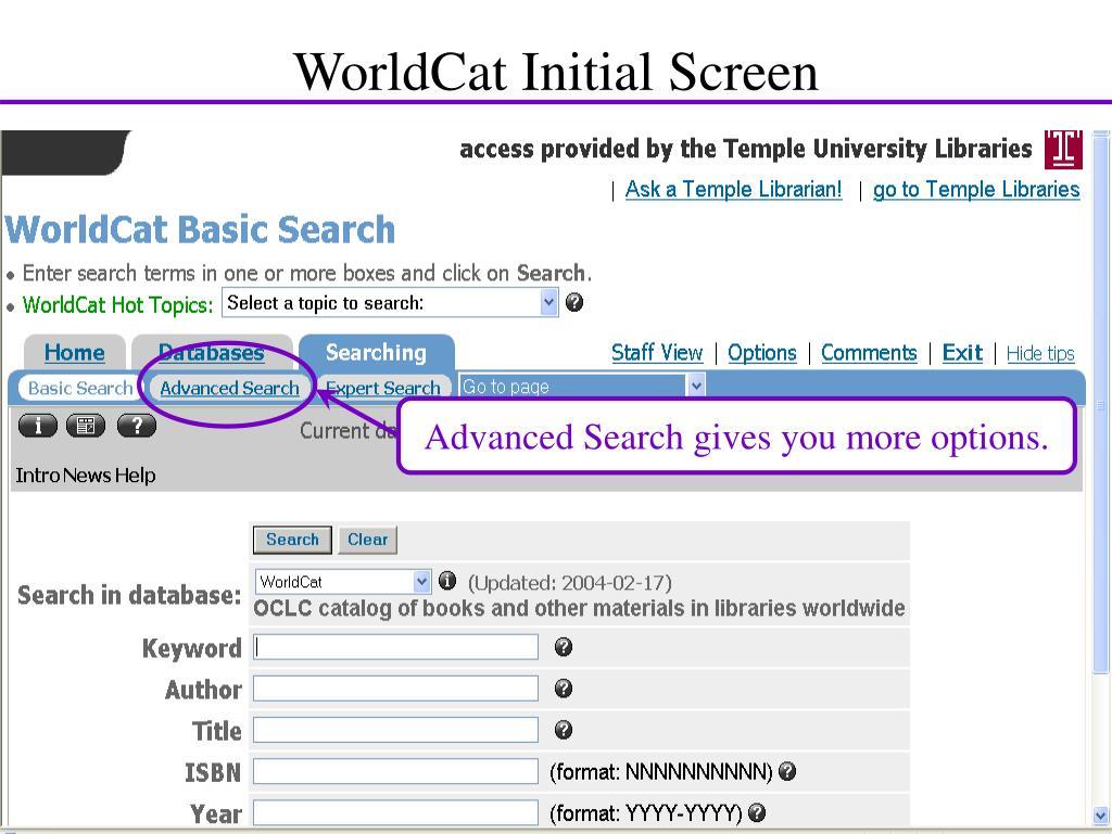WorldCat Initial Screen