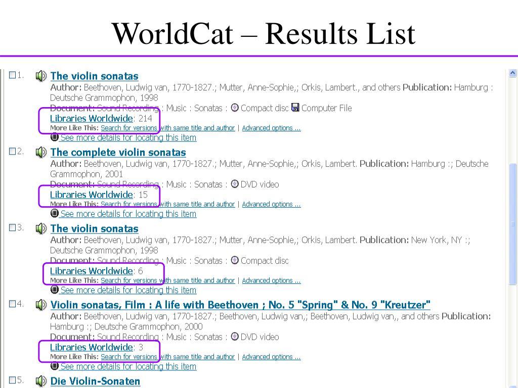 WorldCat – Results List