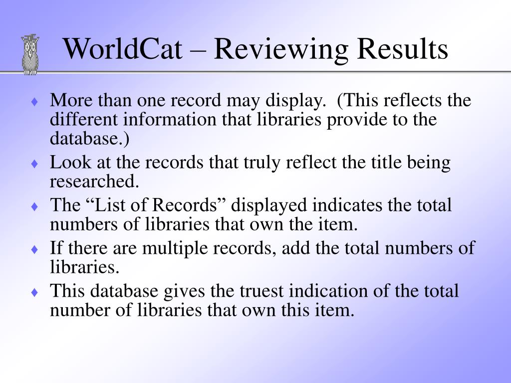 WorldCat – Reviewing Results