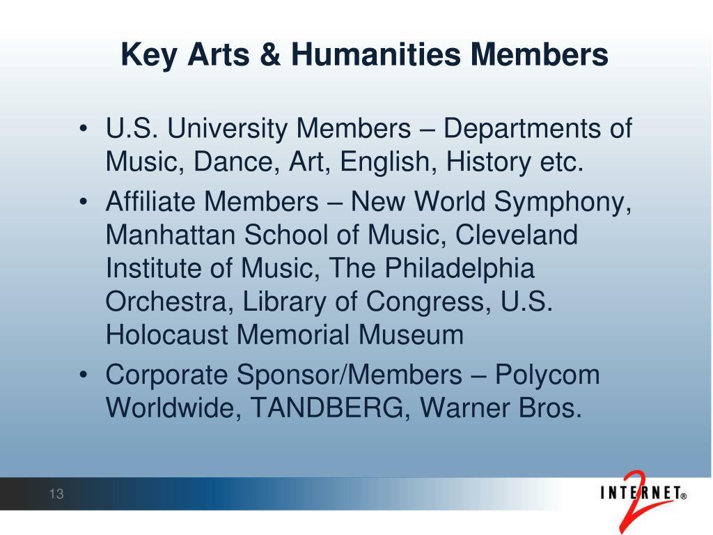 Key Arts & Humanities Members