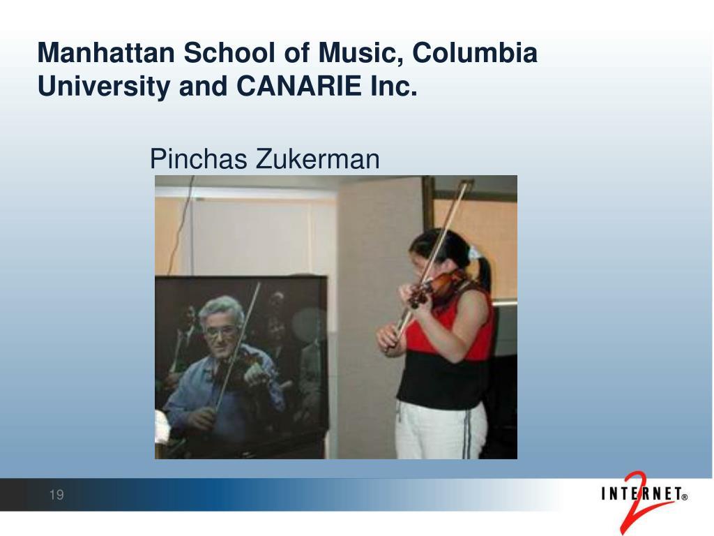 Manhattan School of Music, Columbia University and CANARIE Inc.