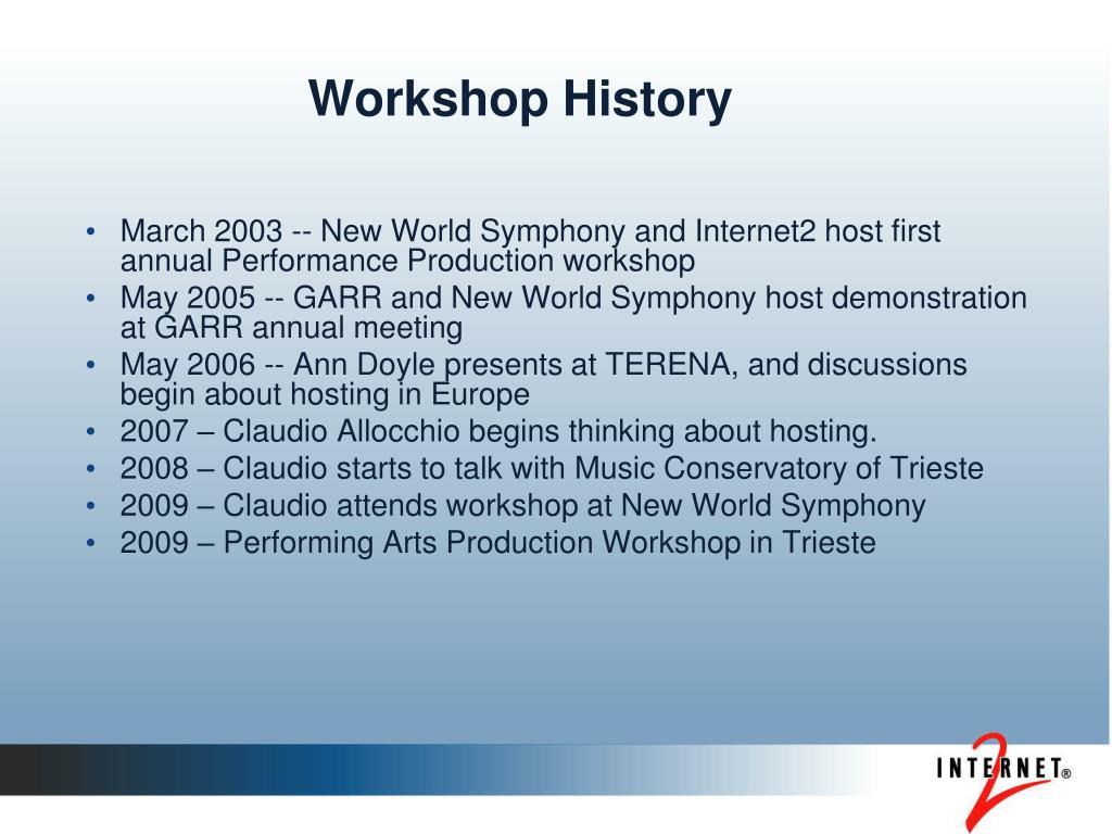 Workshop History