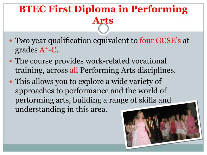 Btec first diploma in performing arts