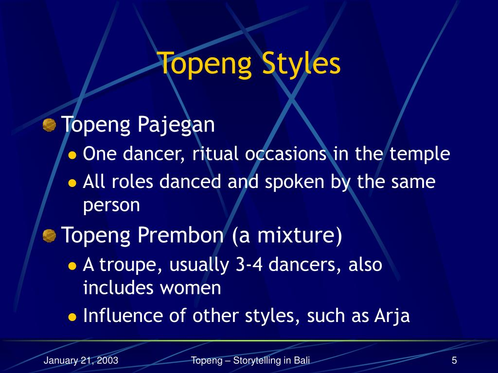 Topeng Styles