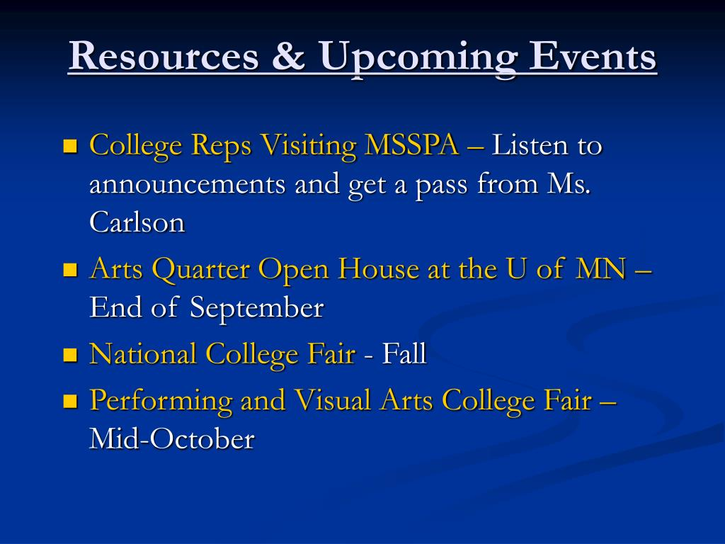 Resources & Upcoming Events