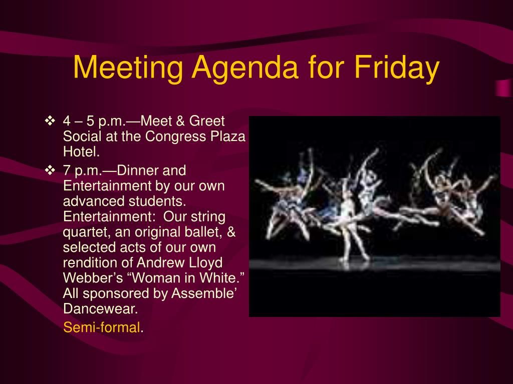 Meeting Agenda for Friday