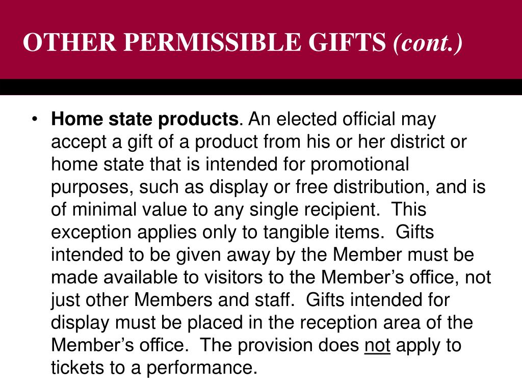 OTHER PERMISSIBLE GIFTS