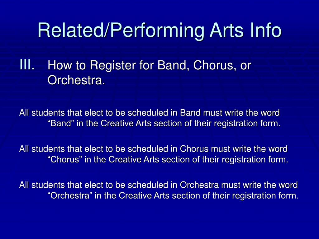 Related/Performing Arts Info
