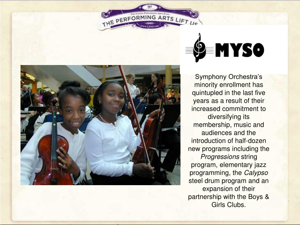 Milwaukee Youth Symphony Orchestra's minority enrollment has quintupled in the last five years as a result of their increased commitment to diversifying its membership, music and audiences and the introduction of half-dozen new programs including the