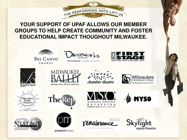 YOUR SUPPORT OF UPAF ALLOWS OUR MEMBER GROUPS TO HELP CREATE COMMUNITY AND FOSTER EDUCATIONAL IMPACT...