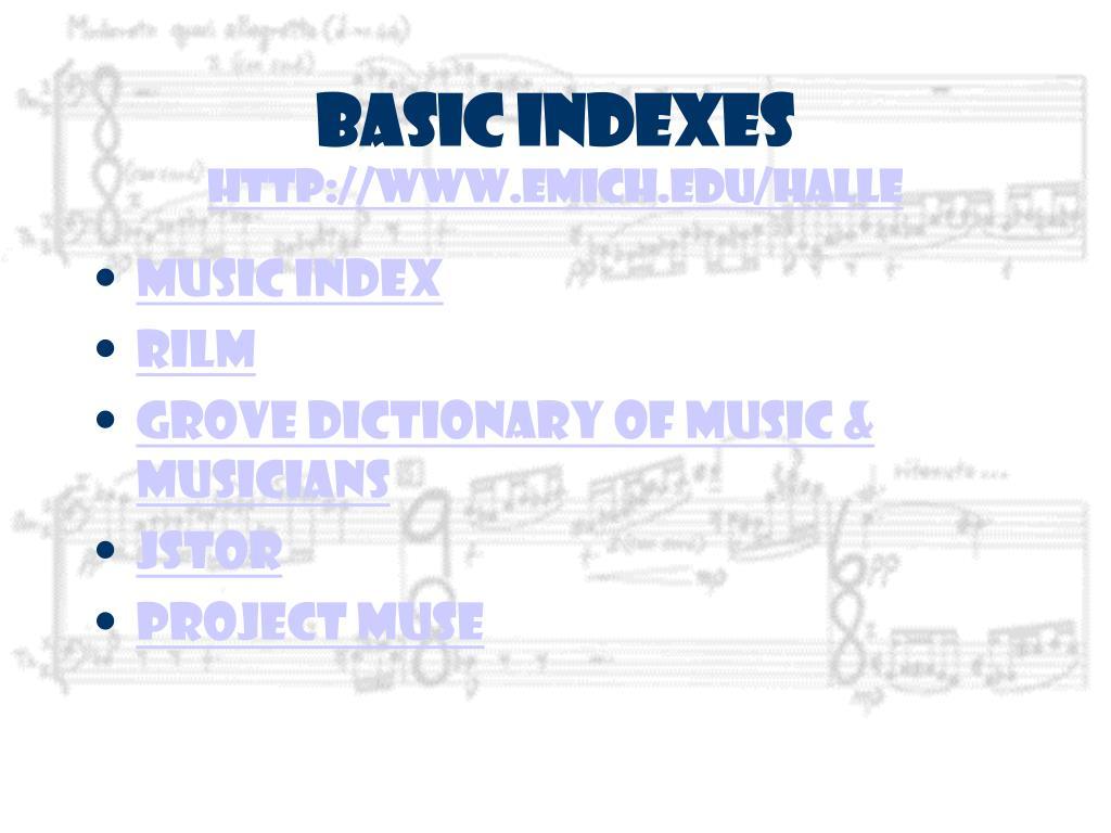 Basic Indexes