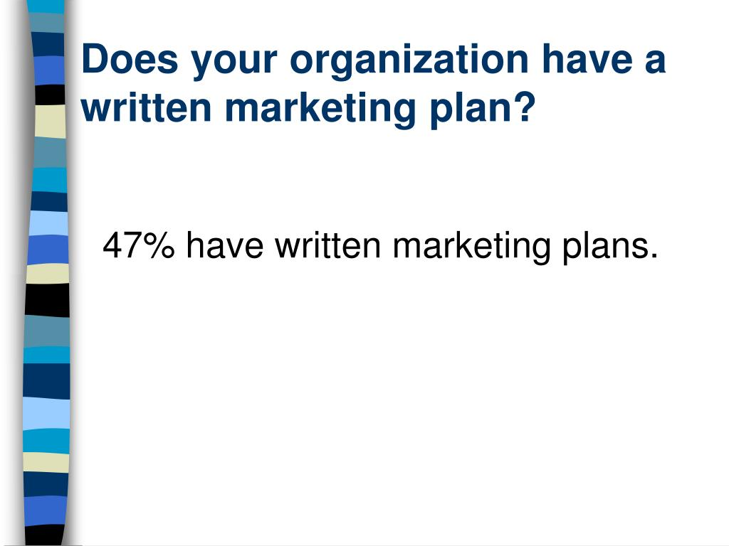 Does your organization have a written marketing plan?