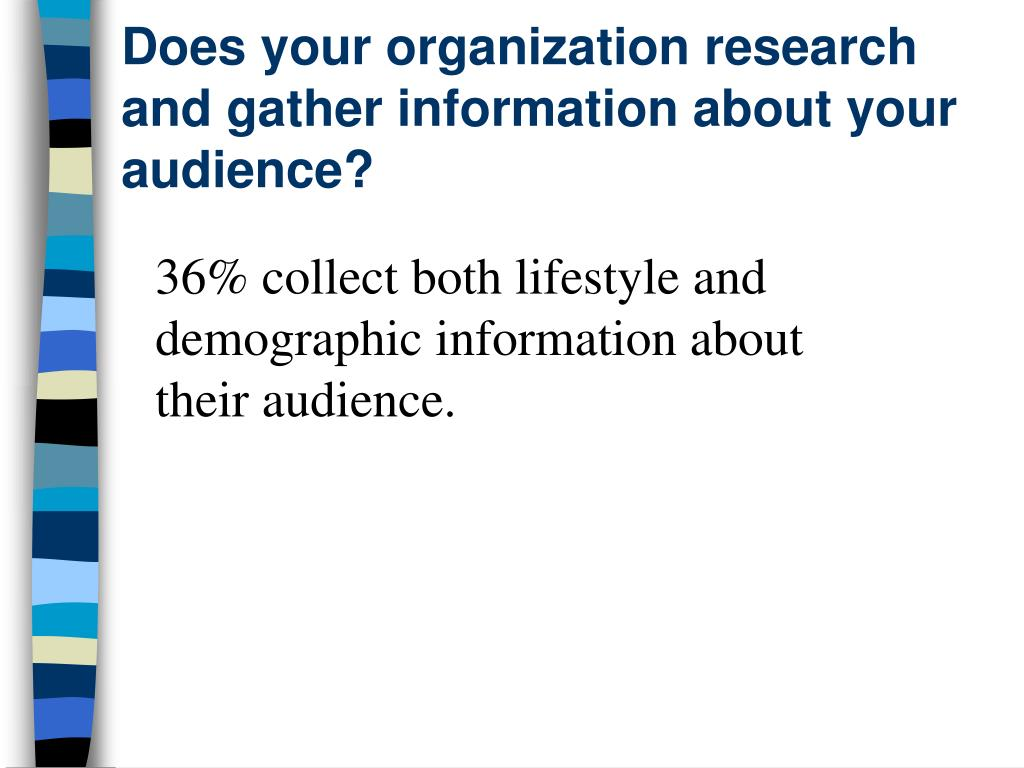 Does your organization research and gather information about your audience?