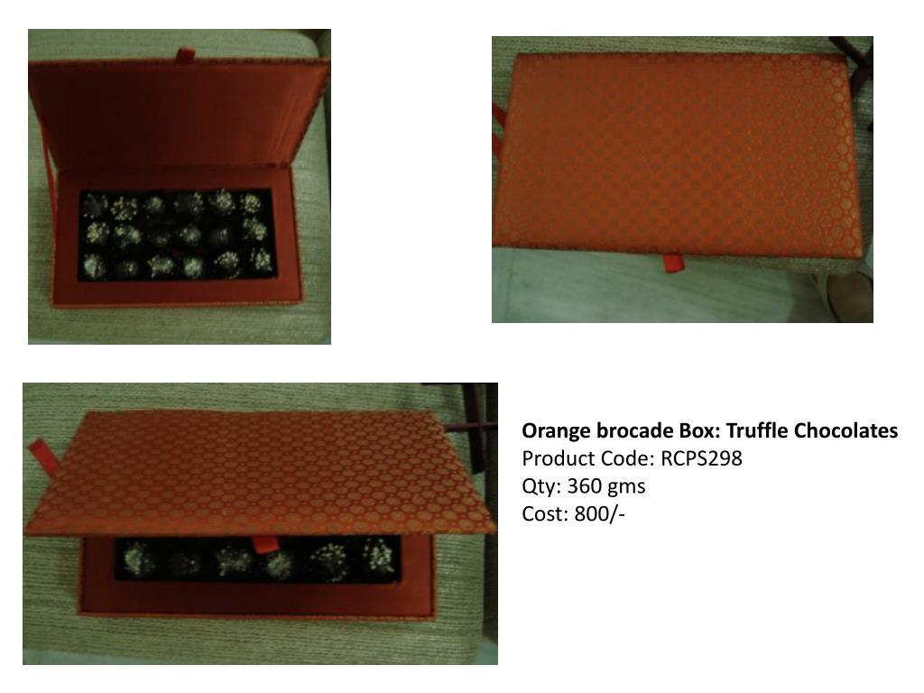 Orange brocade Box: Truffle Chocolates