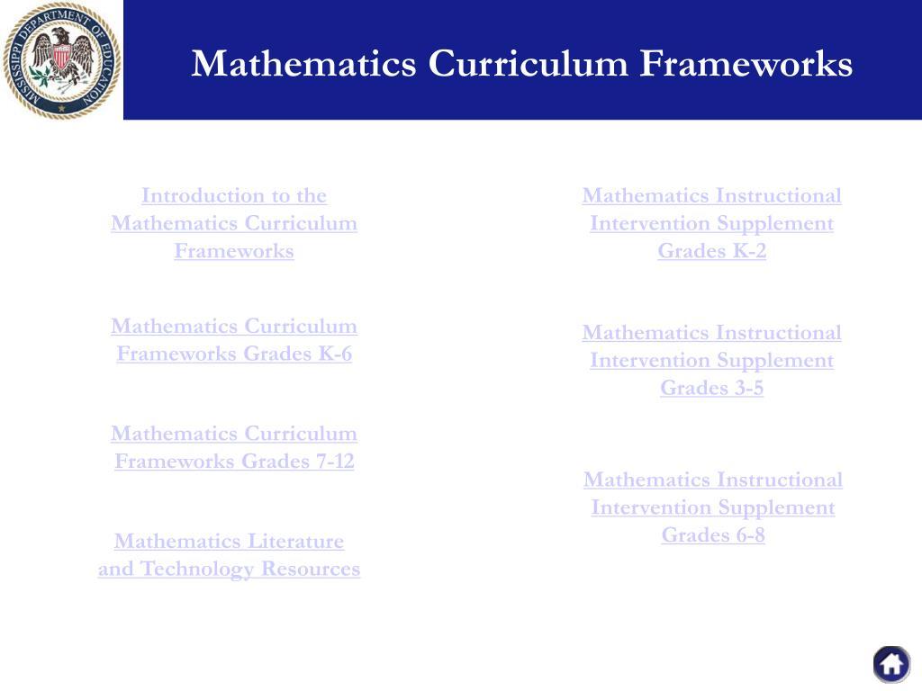 Mathematics Curriculum Frameworks