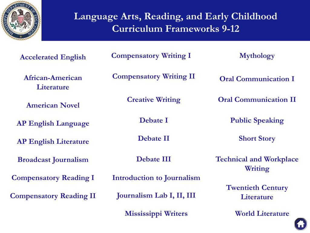 Language Arts, Reading, and Early Childhood        Curriculum Frameworks 9-12
