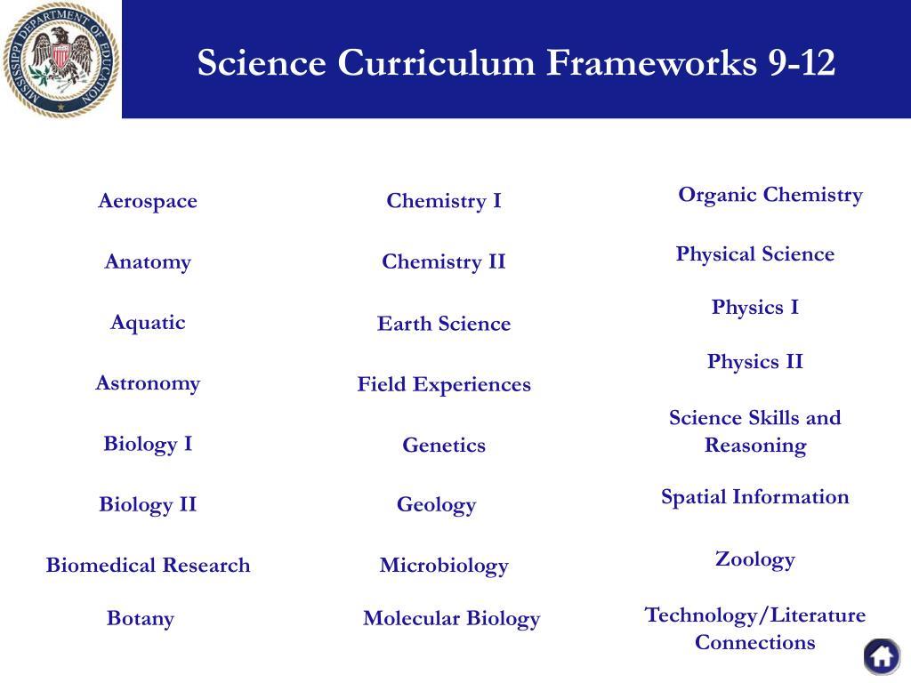 Science Curriculum Frameworks 9-12