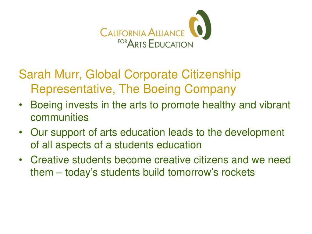 Sarah Murr, Global Corporate Citizenship Representative, The Boeing Company