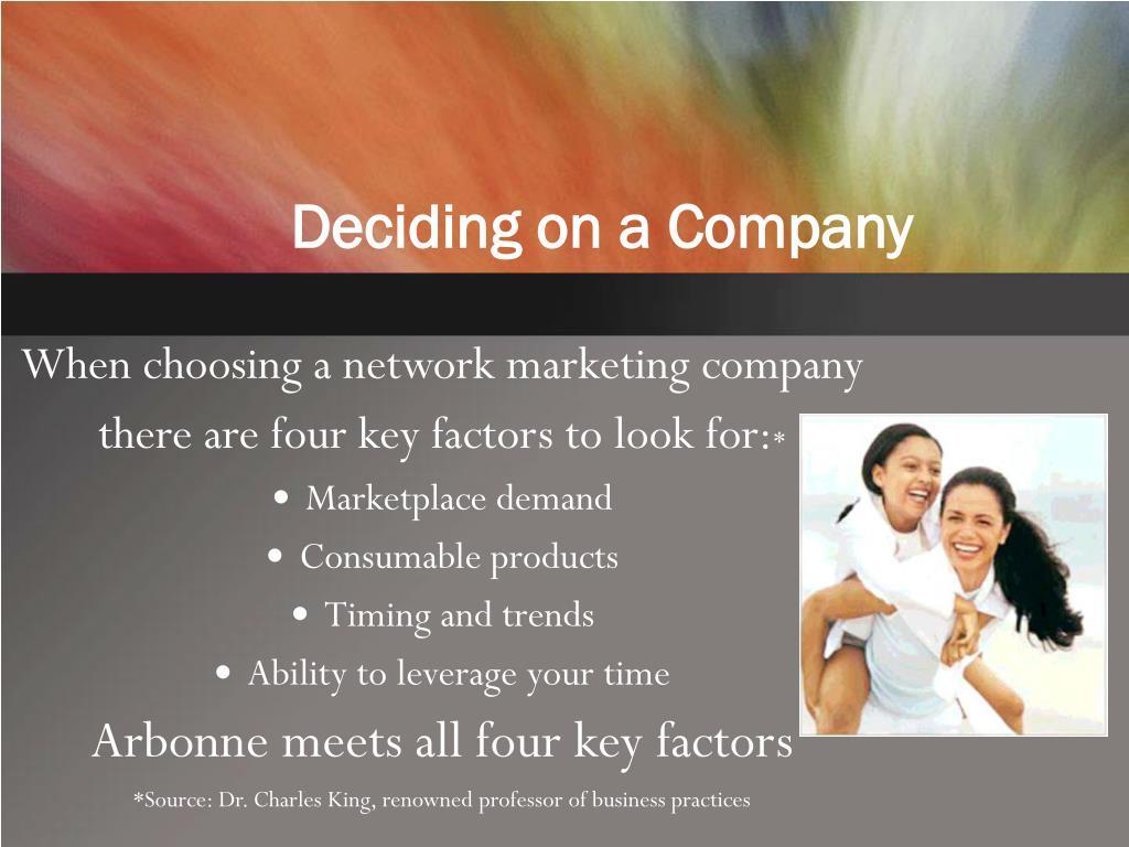 Deciding on a Company