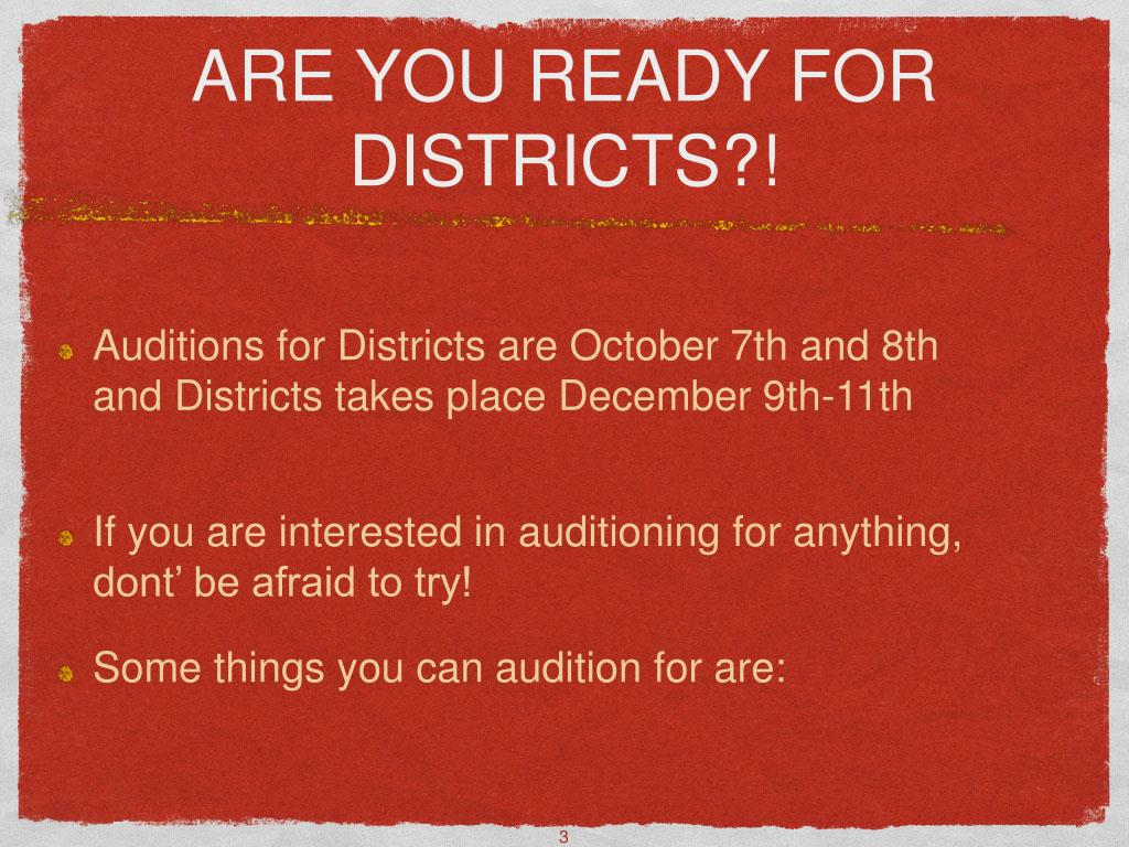 ARE YOU READY FOR DISTRICTS?!