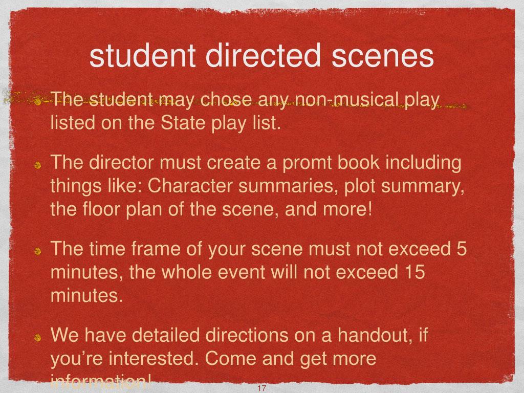 student directed scenes