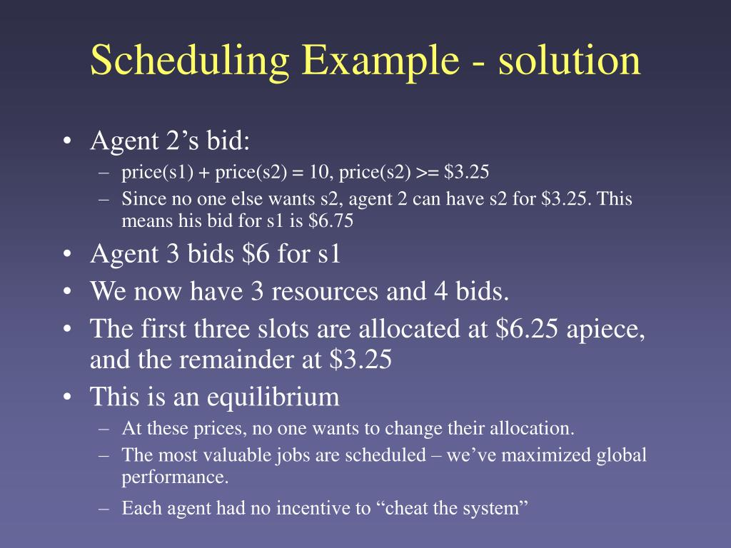 Scheduling Example - solution