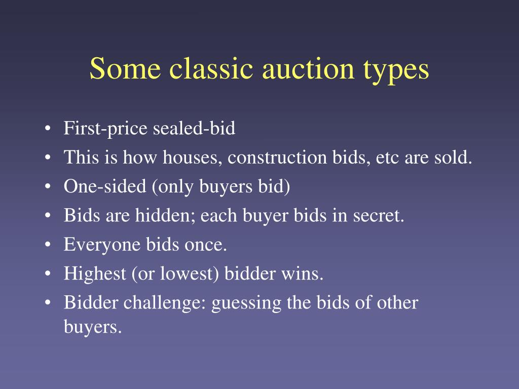 Some classic auction types