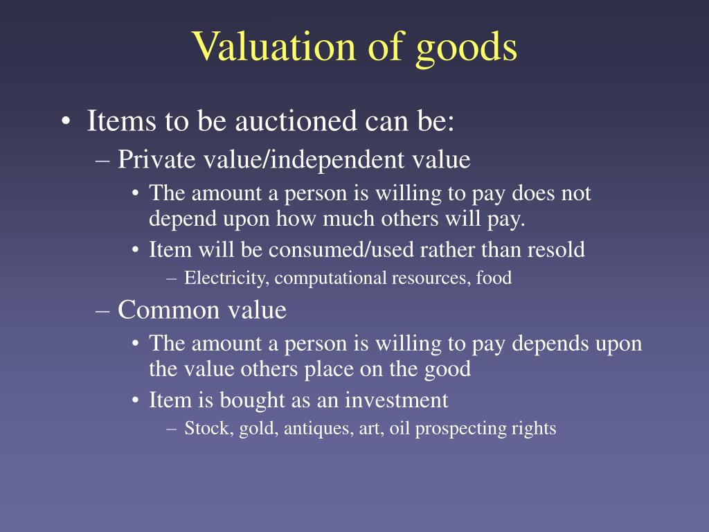 Valuation of goods
