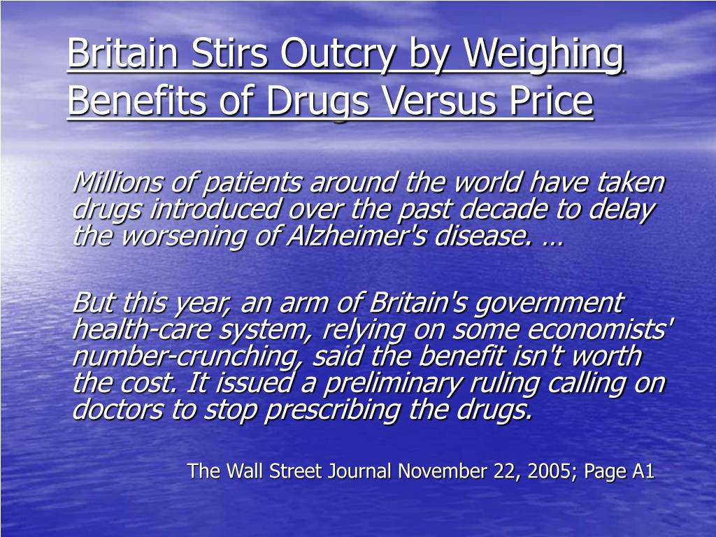 Britain Stirs Outcry by Weighing Benefits of Drugs Versus Price