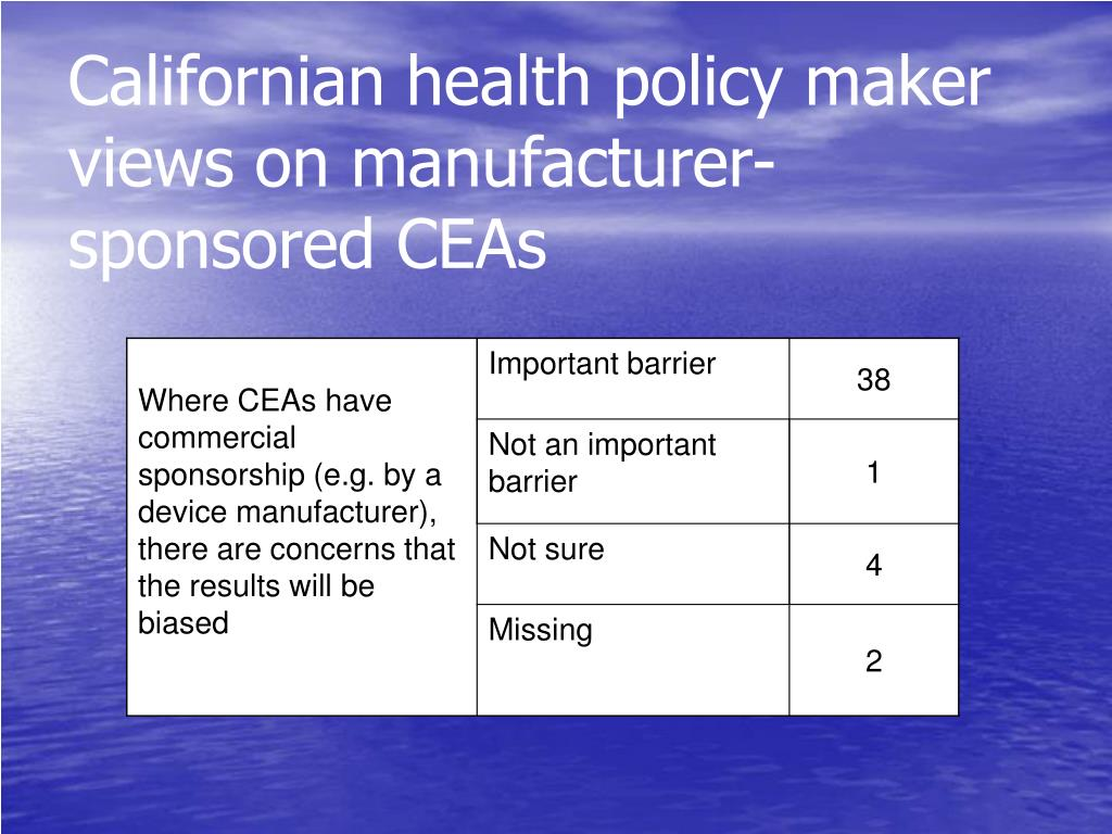 Californian health policy maker views on manufacturer-sponsored CEAs