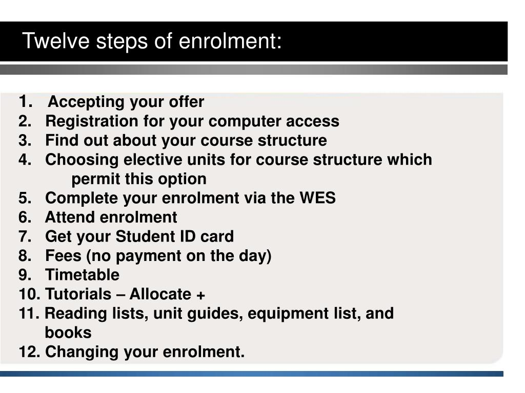 Twelve steps of enrolment:
