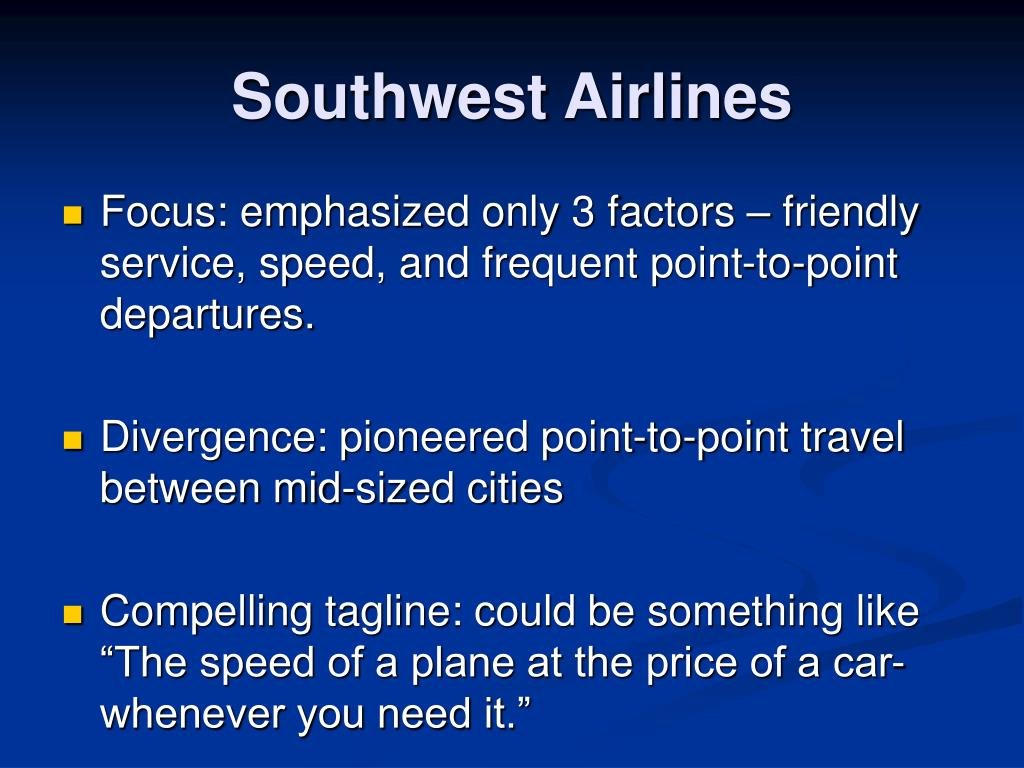 current price strategy of southwest airlines Marketing mix of southwest airlines company  to keep away competition from new airlines that attempt to copy its low-price strategy, it should not stop focusing .