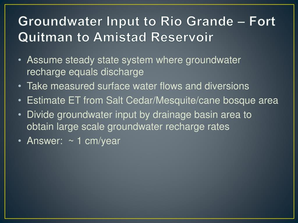 Groundwater Input to Rio Grande – Fort Quitman to Amistad Reservoir