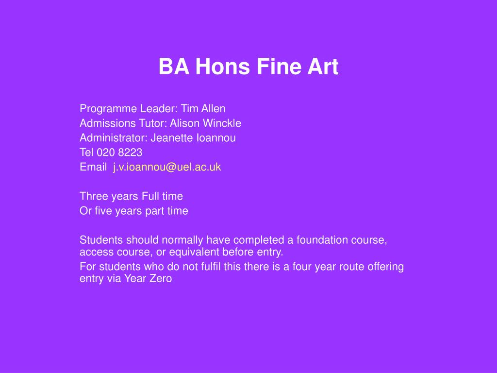 BA Hons Fine Art