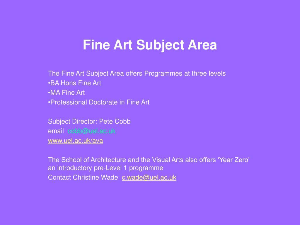 Fine Art Subject Area