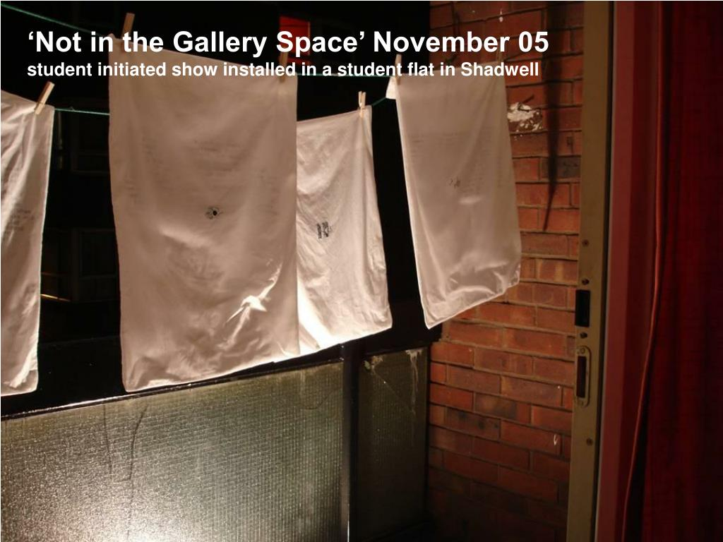 'Not in the Gallery Space' November 05