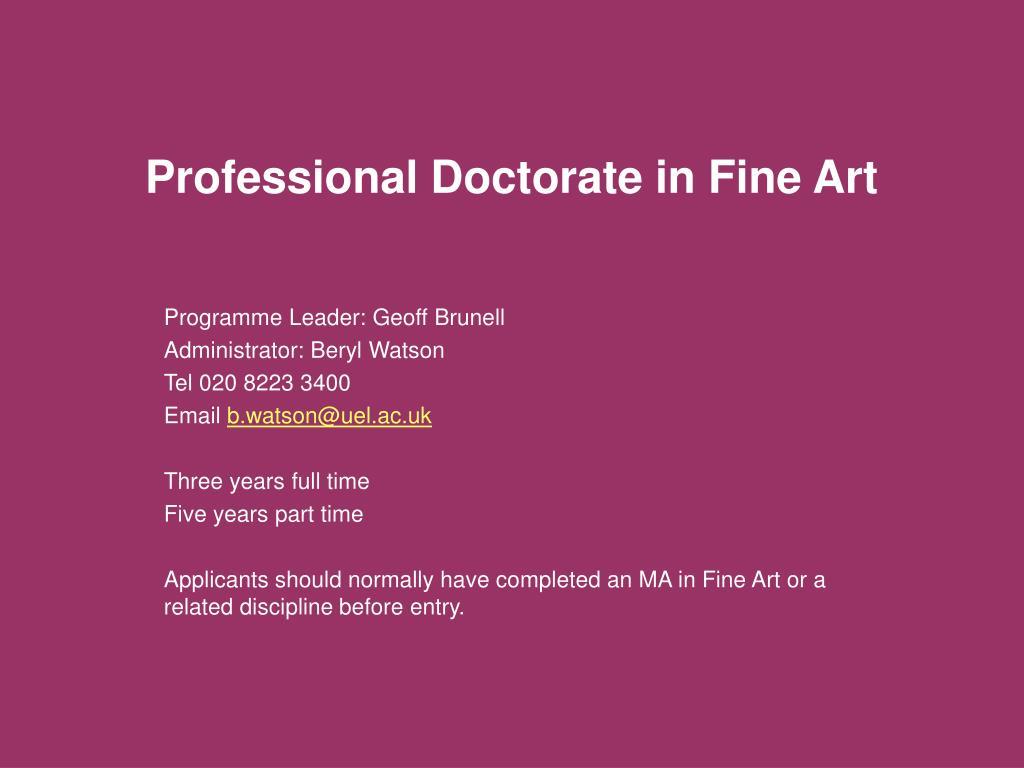Professional Doctorate in Fine Art