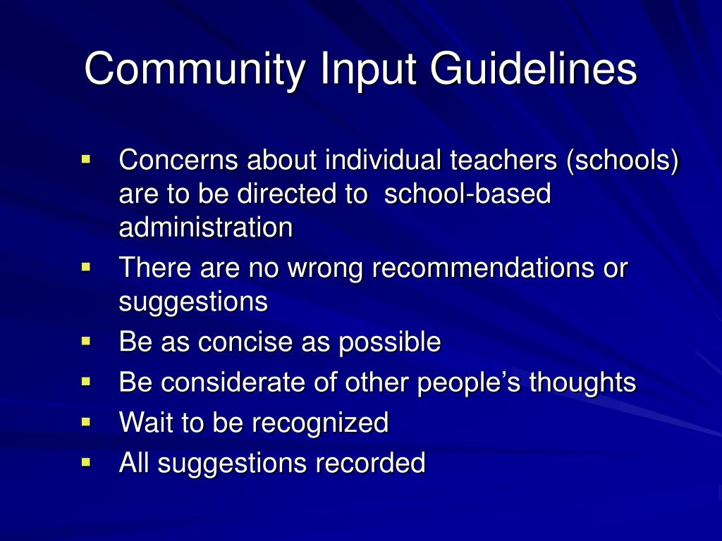 Community Input Guidelines
