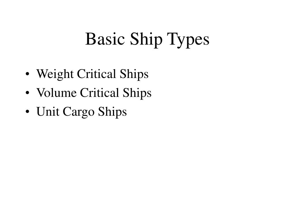Basic Ship Types