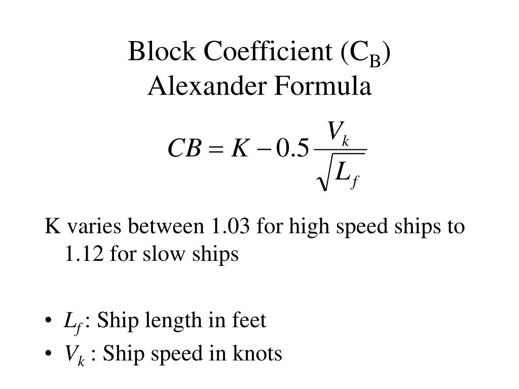 Block Coefficient (