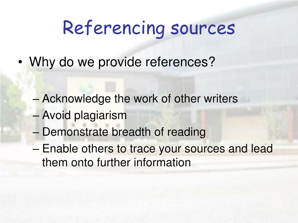 Referencing sources