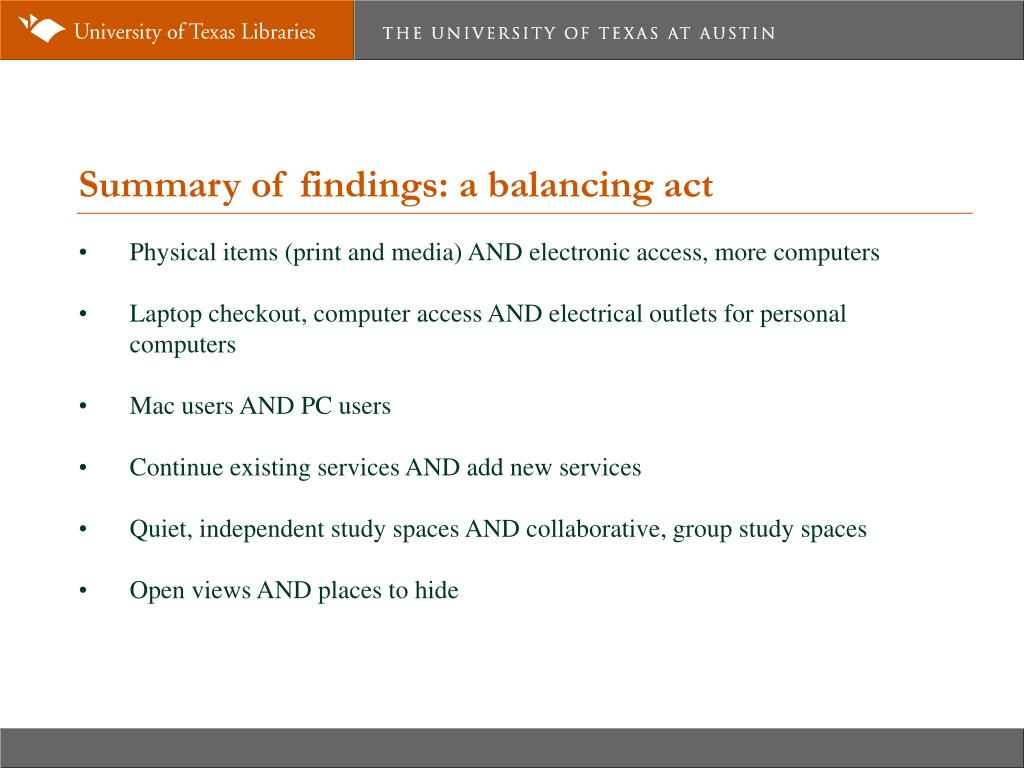 Summary of findings: a balancing act