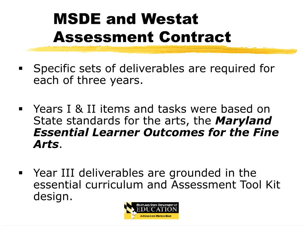 MSDE and Westat Assessment Contract